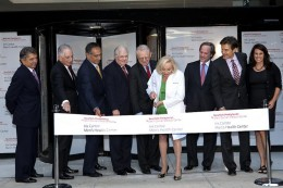 """At the ribbon-cutting celebration marking the opening of the Iris Cantor Men's Health Center at New York Presbyterian Hospital were, left to right John T. Desiderio; Dr. Steven J. Corwin, Chief Executive Officer, NewYork-Presbyterian; John J. Mack, Chairman, Board of Trustees, NewYork-Presbyterian; Dr. Daniel M. Knowles, Chief Medical Officer, Weill Cornell Physician Organization; Dr. Herbert Pardes, Executive Vice Chairman, Board of Trustees, NewYork-Presbyterian; Mrs. Cantor; Dr. Steven A. Kaplan, Director, Iris Cantor Men's Health Center; Dr. Mehmet Oz, Director of the Cardiovascular Institute, NewYork-Presbyterian/Columbia; and Lisa Oz, Author, """"Us: Transforming Ourselves and the Relationships that Matter Most."""""""