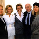 Celebrating the achievements of the Iris Cantor-UCLA Women's Health Center in 1993.  Joining Mrs. Cantor (second from left) are (from Left) Marilyn Bergman, Iris Cantor, Hillary Rodham Clinton, B. Gerald Cantor, Barbara Streisand