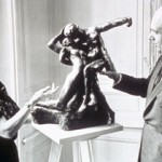 Musée Rodin Director Cecile Goldscheider and Bernie Cantor discussing Rodin's Eternal Spring