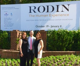 The Dixon billboard announcing the Foundation's Rodin exhibition, and Foundation trustees Michele Geller, Ryan Fisher, and Monica Muhart