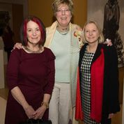 At the Member Reception, Cantor Executive Director and Curator Judith Sobol (l), Michner Director & CEO Lisa Tremper Hanover, and Director of the Ross Gallery at the University of Pennsylvania Lynn Marsden-Atlass (r)