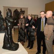 "Michener Museum members admire Rodin's 1892 ""Nude Study of Balzac (Type C)"""